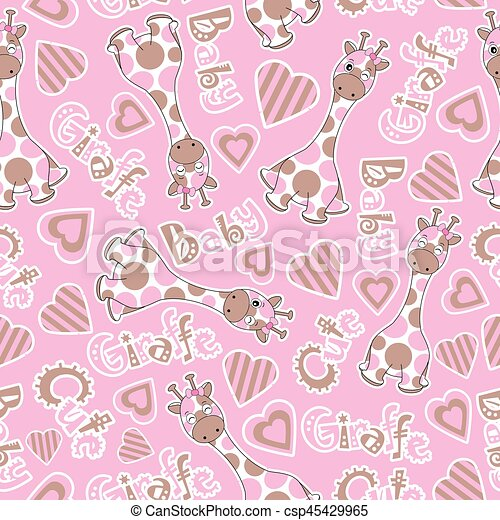 Baby Shower Seamless Pattern With Cute Baby Giraffe On Pink Background