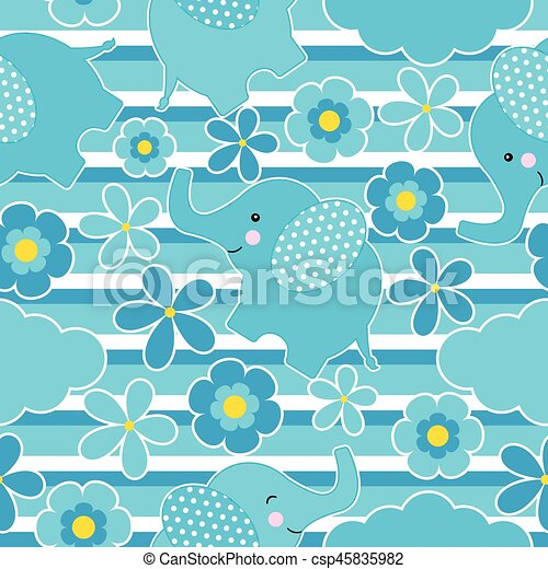 Baby shower seamless pattern with cute elephant and flowers on stripes background - csp45835982