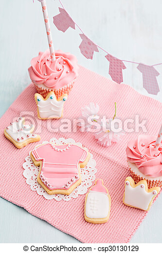 Baby Shower Sweet Table Butter Cream Cupcakes And Cookies For A