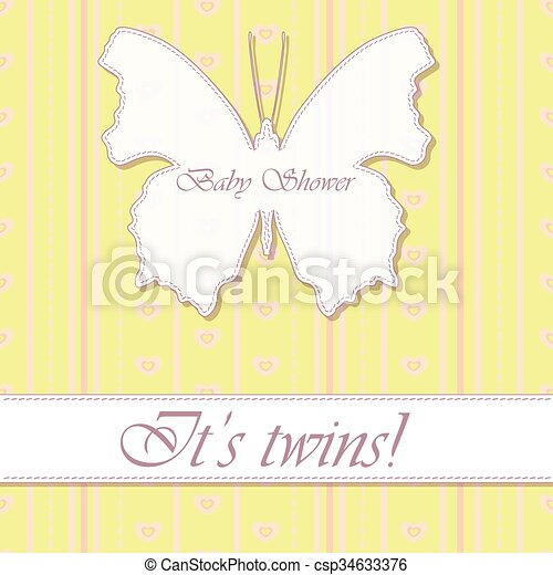 Vector Baby Shower Twins Vintage With Butterfly Banner