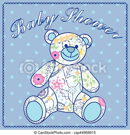 Baby shower with bear toy - csp44956615