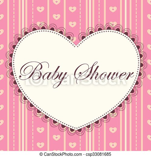 Baby Shower With Heart Pink Vintage Vector Card Baby Shower With