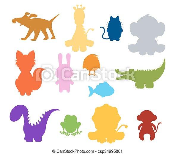 Farbe, baby, silhouette, tiere Vektor Clipart - Suche Illustration ...