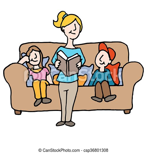 baby sitter reading to children - csp36801308