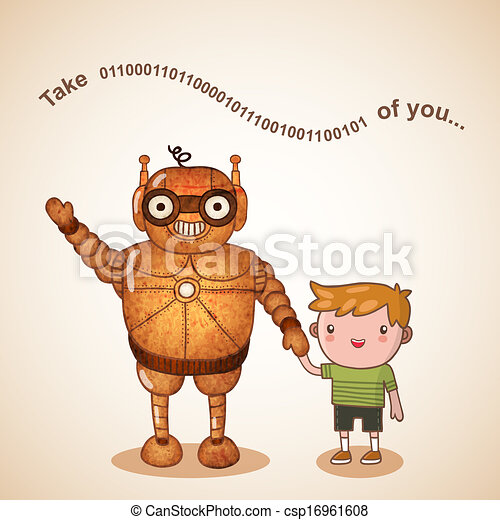 Baby sitter robot with child - csp16961608
