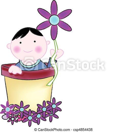 baby sitting in a bucket - csp4854438