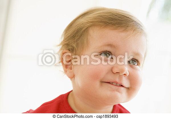 baby, smil, indendørs - csp1893493