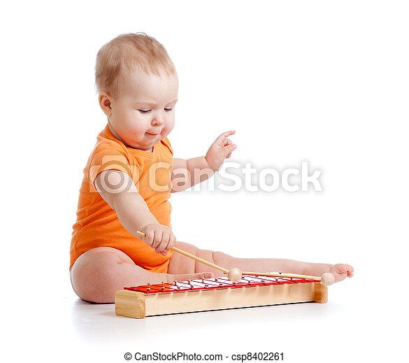 baby- spielzeug, spielende , musikalisches - csp8402261