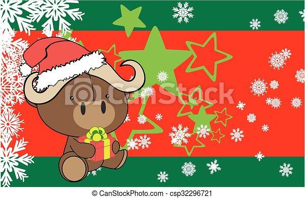 Weihnachten Bilder Bearbeiten.Baby Stier Weihnachten Hintergrund Karikatur