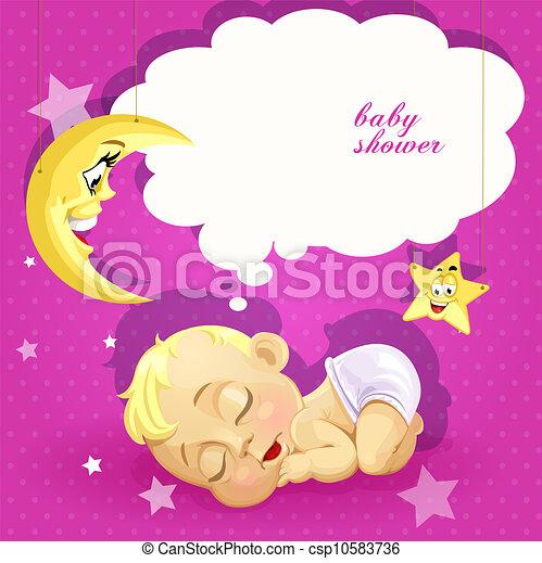 baby stortbad, roze, kaart - csp10583736