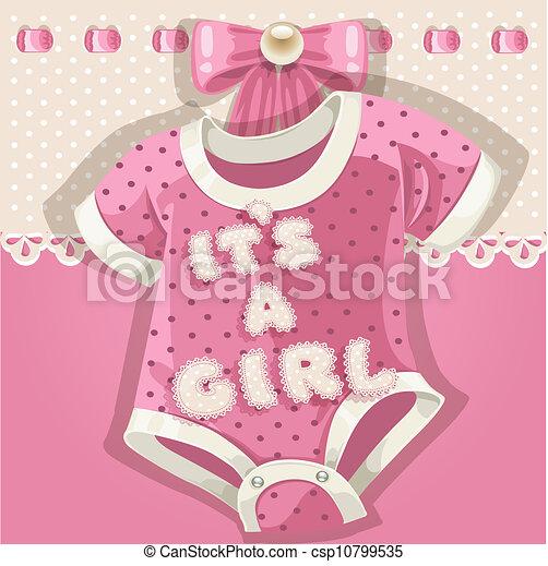 baby stortbad, roze, kaart - csp10799535