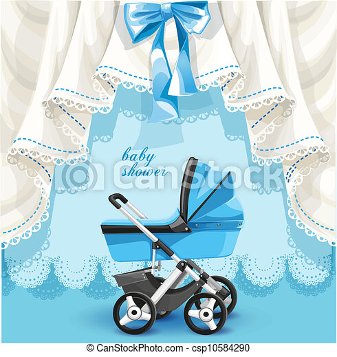 baby stortbad, wagen, kaart - csp10584290