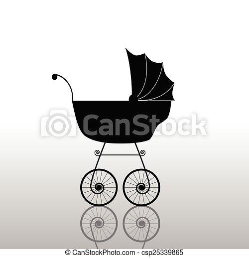 baby stroller ancient black vector - csp25339865