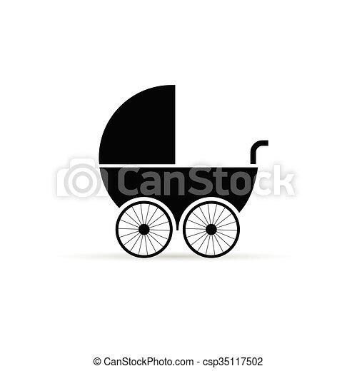 baby stroller illustration in black - csp35117502