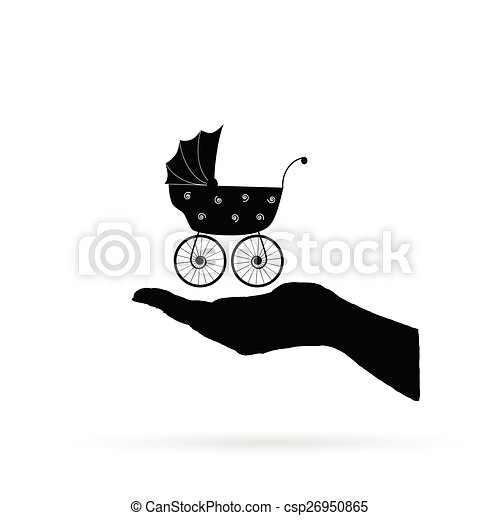 baby stroller in hand black vector - csp26950865