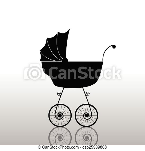 baby stroller old black vector - csp25339868