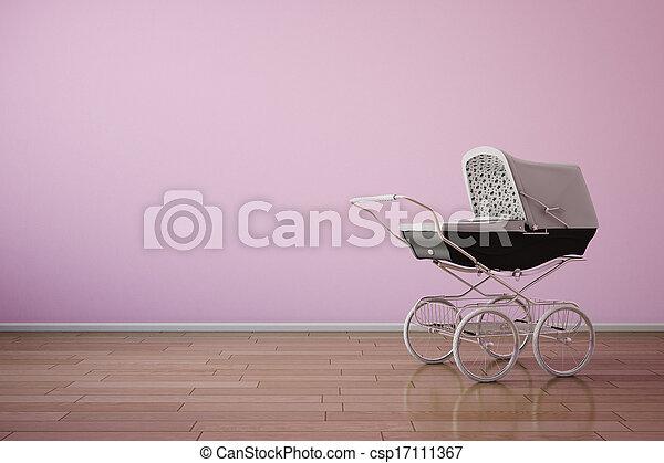 Baby stroller on pink wall horizontal - csp17111367