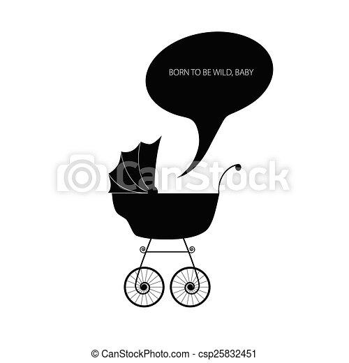 baby stroller vector - csp25832451