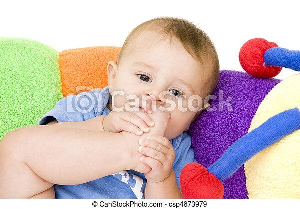 Baby Sucking on Foot - csp4873979