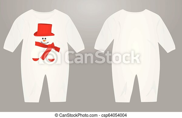 Baby suit with snowman illustration - csp64054004