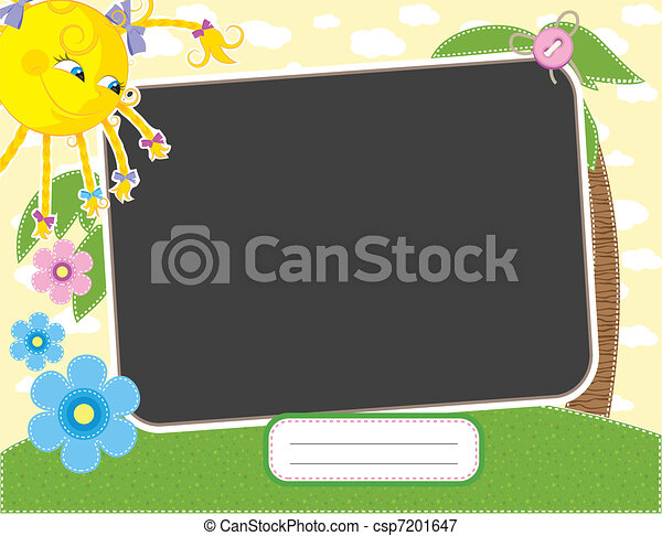 Baby summer frame with fun sun - csp7201647