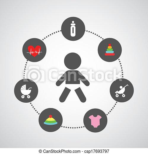 Baby Symbol Set In Circle Diagram Eps Vectors Search Clip Art