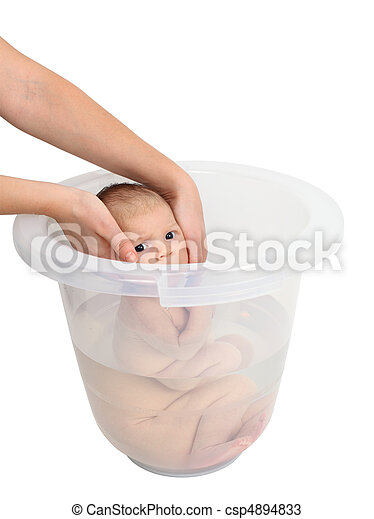 Baby taking a bath in bucket stock photos - Search Photographs and ...