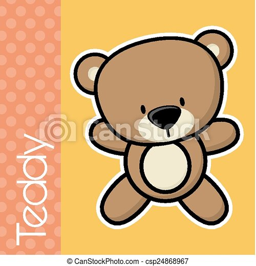 Baby Teddy Bear Cute Little Baby Bear And Text In Flat Design On