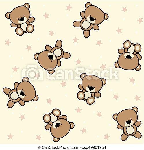 Baby Teddy Bear Seamless Cute Teddy Bear Seamless Background With