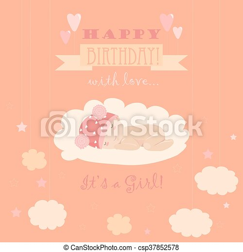 Baby Theme It S A Girl Card