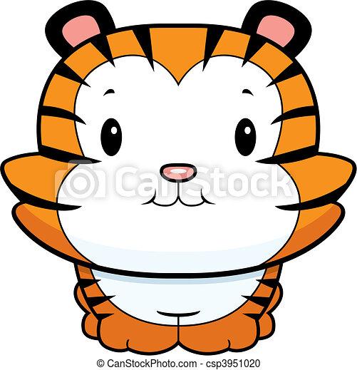 baby tiger cub a happy cartoon baby tiger cub smiling rh canstockphoto com cute baby tiger clipart baby tiger face clipart