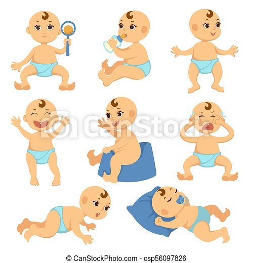 Baby Toddler Child Vector Flat Character Isolated Boy Or Girl Infant - Toddler-cartoon-characters