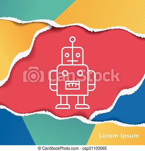 baby toy robot line icon - csp31103565
