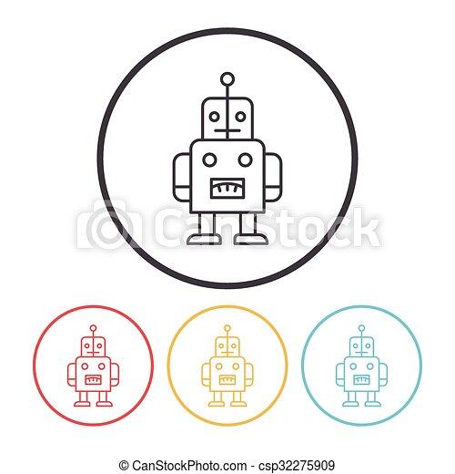 baby toy robot line icon - csp32275909
