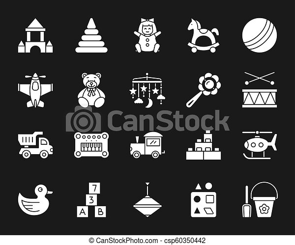 Baby Toy White Silhouette Icons Vector Set Baby Toys Silhouette