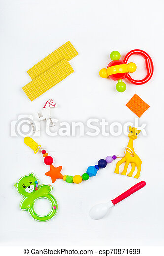baby toys for kids on a white background - csp70871699