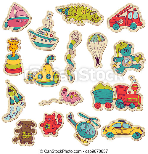Baby Toys Stickers - for design and scrapbook - in vector - csp9670657