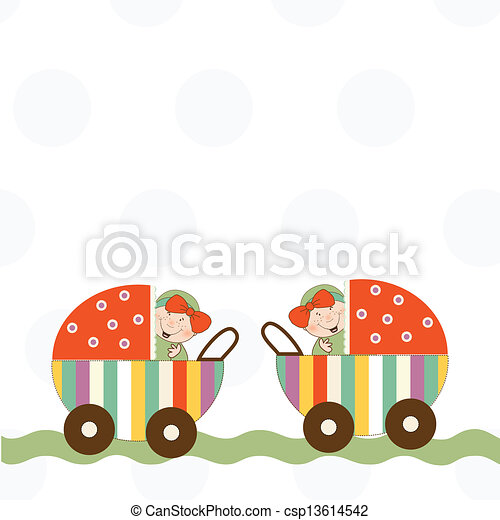 baby twins announcement card - csp13614542