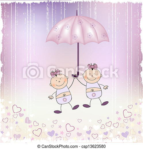baby twins announcement card - csp13623580