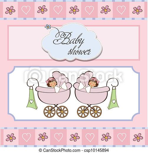 baby twins shower card - csp10145894