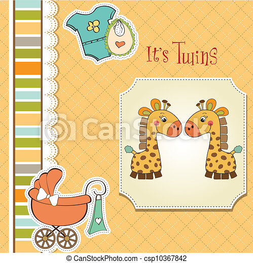 baby twins shower card - csp10367842
