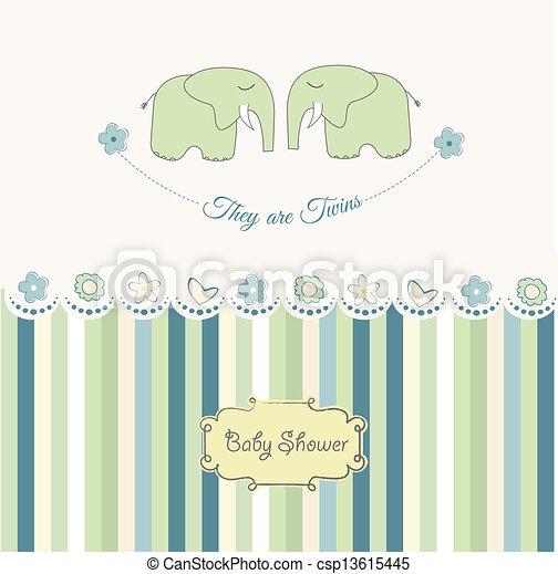 baby twins shower card - csp13615445