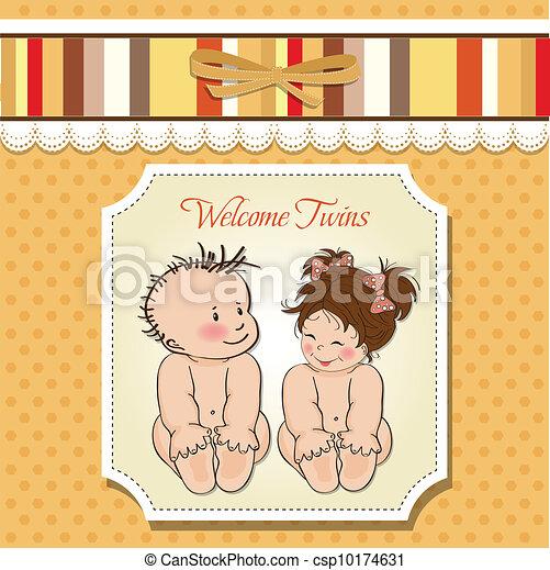 baby twins shower card - csp10174631
