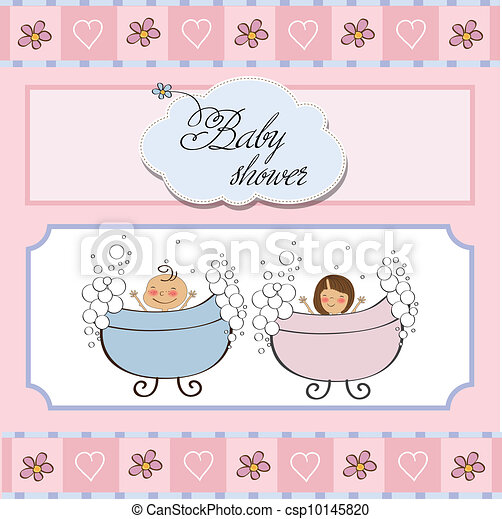 baby twins shower card - csp10145820