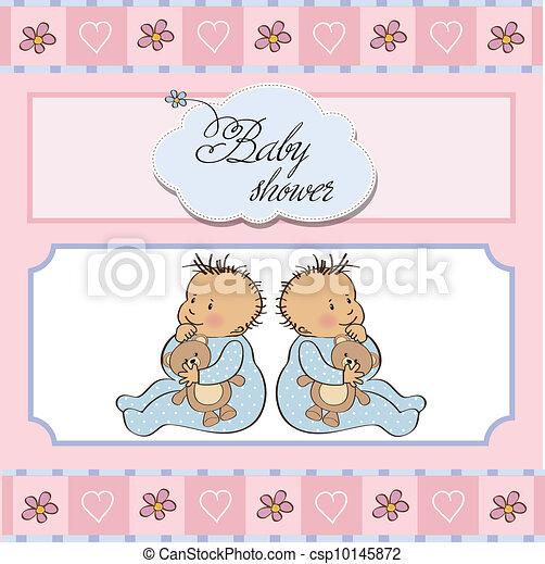 baby twins shower card - csp10145872