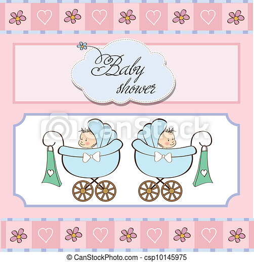 baby twins shower card - csp10145975