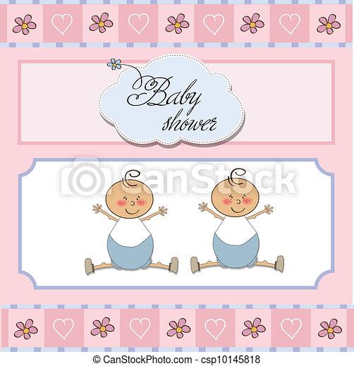baby twins shower card - csp10145818