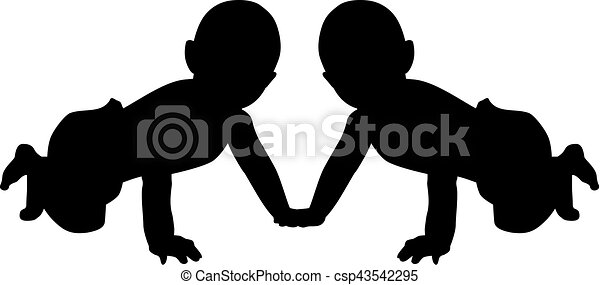 Baby twins silhouette - csp43542295