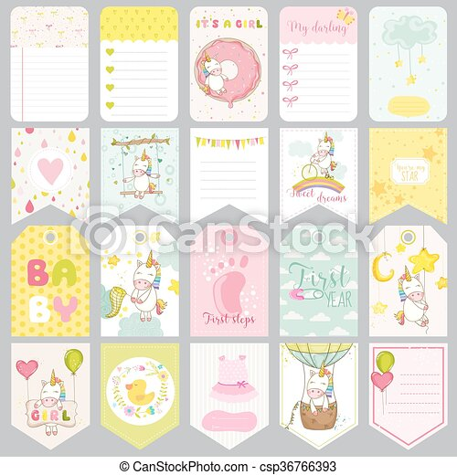 Baby Unicorn Tags Baby Banners Scrapbook Labels Cute Cards