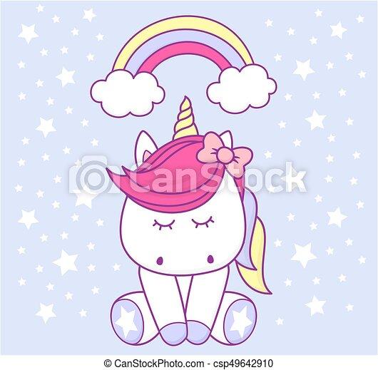 Baby Unicorn Cute With Rainbow And Stars On Light Vector